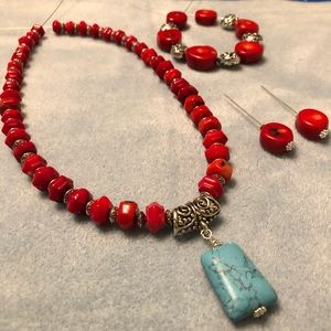 Bamboo Coral and Howlite Turquoise Complete Set